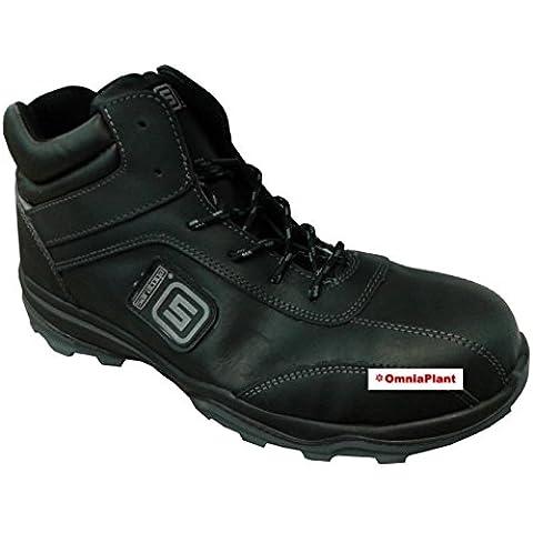 SARATOGA scarpa da lavoro BLACK PELLE alta