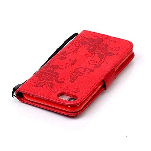 iPhone 7 Coque ( Noir ), Bling Cristal Strass Cuir Etui Rabat Style Portefeuille Case Avec Carte Slots pour Apple iPhone 7 4.7 inch Avec 3D Rose Fleur rouge