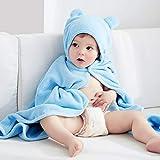 Serviette de bain de bébé Cape enfant bébé nouveau-né Capuche Serviette de bain avec Gaze de coton doux doux Peignoir de bain, bleu