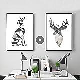 Minimalista abstracto perro cartel italiano galgo pared arte impresión lienzo pintura ciervo nórdico pared cuadros sala decoración del hogar E 30 * 40 cm