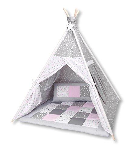 Amilian® Tipi Spielzelt Zelt für Kinder T40 (Spielzelt mit der Tipidecke und Kissen) Decke Regale