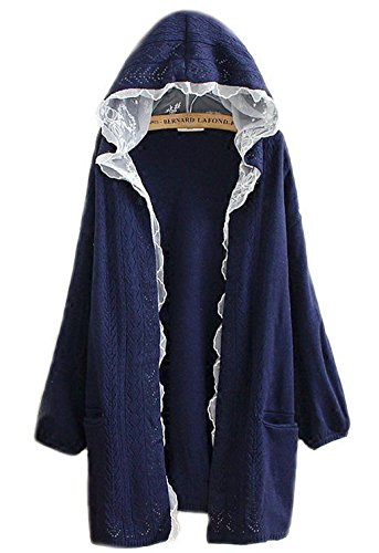 hqclothingbox Women Kawaii Harajuku Japanese Casual Lace Layered Jacket Coat Knitted Lace Sweater Cardigan (Black Bull Womens)