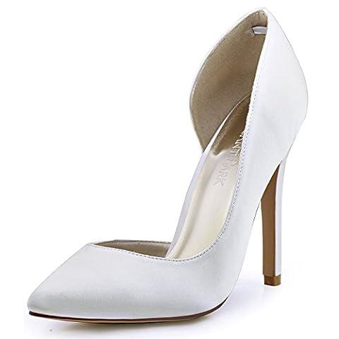 ElegantPark HC1601 Women Pointed Toe High Heel D'Orsay Satin Pumps Wedding Evening Party Court Shoes Ivory UK