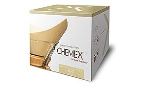 Chemex Bonded Unbleached Pre-Folded Square Filtros de café, 100 unidades