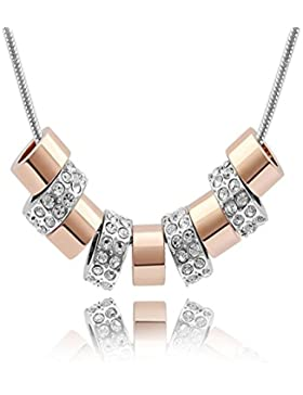 QUADIVA E! Damen Halskette mit Neun-Ring-Anhänger (Farbe: weißgold/rosegold) verziert mit funkelnden Kristallen...
