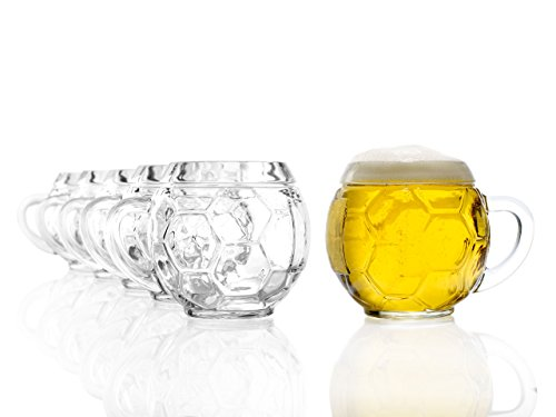 Stölzle Oberglas Fußball Bierkrug 0,4l - Original Fußballkrug, 6 Biergläser, Tradition, spülmaschinenfest, hochwertige Qualität (Fußball-krug)