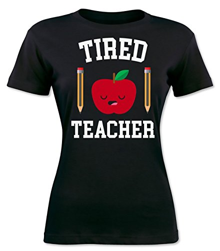 Finest Prints Tired Teacher Sleepy Apple With Pencils Women's T-shirt