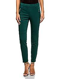 5d975cdb96d7 oodji Ultra Femme Pantalon Fuselé avec Zips Décoratifs et Surpiqûres