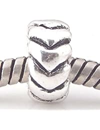 Andante-Stones - 925, cuenta separadora de plata, bola con un corazón tallado, elemento bola para cuentas European Beads + saco de organza