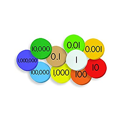 ESSENTIAL LEARNING PRODUCTS ELP626638 10 Decimals to Whole Numbers Place Value Discs Set, Multi from Educators Resource