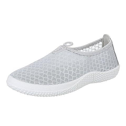 Damen Schuhe, BL221, HALBSCHUHE, SLIPPER, Synthetik , Grau, Gr 37 (Kniehohe Slippers)