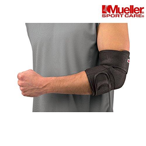 Mueller Ellenbogen-Kompressionsbandage, verstellbare Ellenbogen-Bandage zum Gewichtheben, Tennis, Squash, Basketball, Golf. Bietet Schutz und Unterstützung für schmerzende, schwache oder verletzte Ellbogen, schwarz