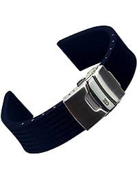 Bracelet de Montre ZULUDIVER® en Caoutchouc Italien de Qualité, Plongée, Sport et Loisir, Réversible et Ajustable, 20mm ou 22mm