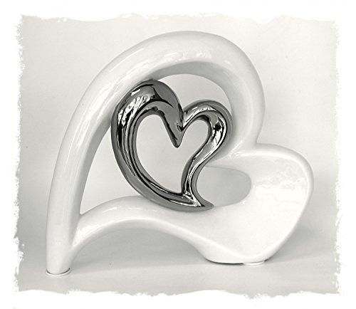 Deko Figur Herz Herzen Paar aus Keramik lackiert weiß chrom, 19,5 x 22,5 cm, Herzchen Doppelherz Skulptur Statue modern, Symbol der Liebe