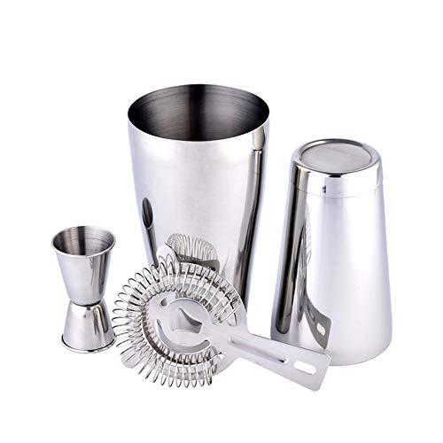 Kit de barware en Acier Inoxydable 3 PCs Cocktail Shaker Set avec Filtre à Glace, Double Jigger, agitateur