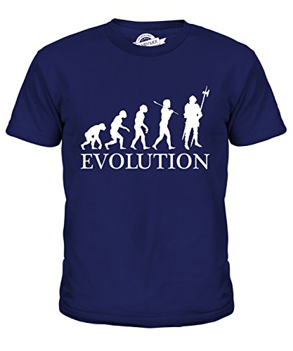 CandyMix Ritter Evolution Des Menschen Unisex Jungen Mädchen T Shirt, Größe 6 Jahre, Farbe Navy Blau
