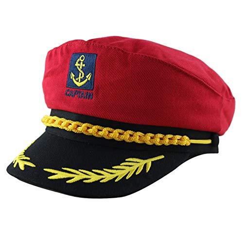 CGXBZA Erwachsener Kapitän Kostüm Boot Yacht Schiff Sailor Navy Kapitän Hut Party Cosplay Cap Sea Boating Nautische Kostüm
