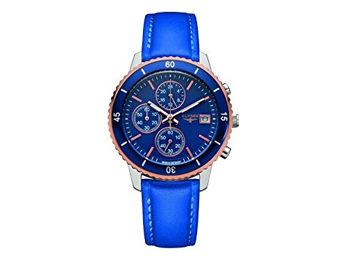 ELYSEE Women's Sina 40mm Black Leather Band Steel Case Sapphire Crystal Quartz Blue Dial Watch 83801