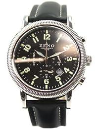 Zeno Nostalgia - Reloj cronógrafo para hombre (correa de piel e indicación de fecha)