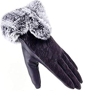 Dasongff Damen Lederhandschuhe Winter Touchscreen Lammfell Warm Handschuhe Fleece Winterhandschuhe Elegante Spitzenhandschuhe