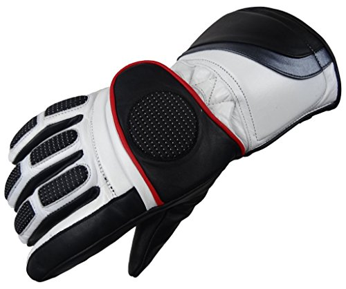 Motorradhandschuhe Winter Handschuh 6001 Bangla Leder schwarz weiss M