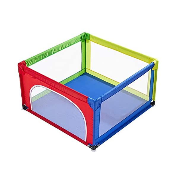 Playpens Extra Large Baby Playards Portable Assembled, Indoor Infant Safety Play Yard Children's Crawling Fence, Multicolor (Size : 120×120cm) Playpens  1