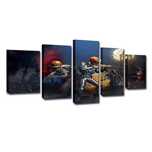 OJKYK Gaming PUBG Impresiones De Carteles CuadrosEn Lienzos Arte De La Pared Pinturas 5 Piezas Decoración Moderna para Sala De Estar Dormitorio Oficina,B,30x45x2+30x60x2+30x75x1