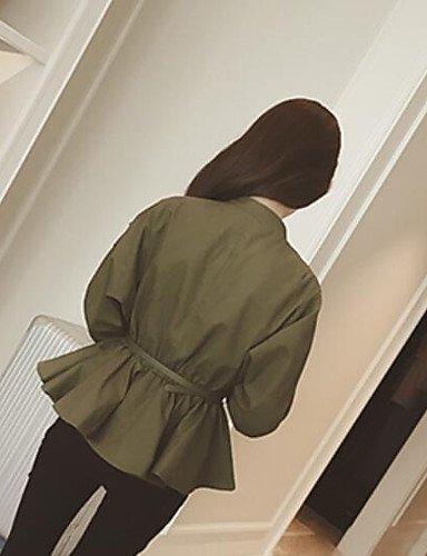 zhENfu Donna informale/Daily semplice giacca caduta, solido girocollo manica lunga cotone corto,One-Size,verde militare Army Green