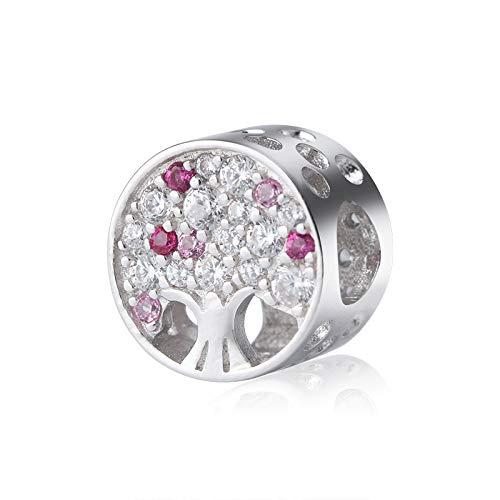 Kaayah albero della vita, perla argento sterling 925 con zirconi bianchi e rosa - pendente da donna per charm bracciale