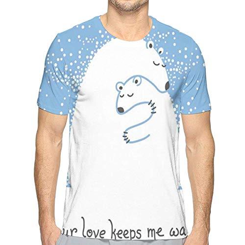 3D gedruckte T-Shirts, Mutter-Eisbär, der Ihr Baby in der Schnee-Nordwinter-Liebes-Valentinsgruß-Kunst umarmt - Männliche Eisbären