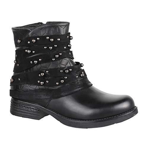 Elara Damen Stiefelette | Bequeme Biker Boots | Metallic Lederoptik | Chunkyrayan BZ66016-KB Black-41
