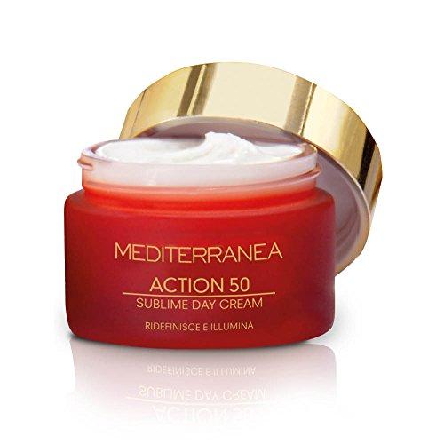 Mediterranea - Action 50 Sublime Day Cream - Crème de Jour Anti-âge pour le Visage à l'Acide Hyaluronique et Pivoine - Crème Hydratante et Éclairante - Peau Tonique, Élastique, Lumineuse - 50 ml