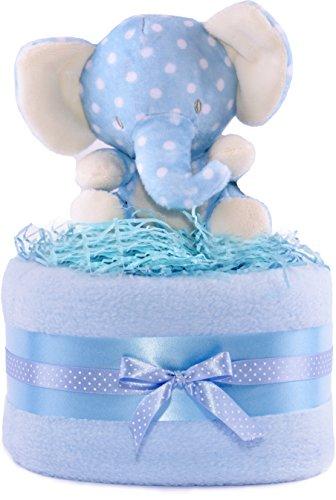 Cesta de regalo para bebé con diseño de elefante de la selva para niños - azul y blanco