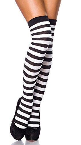 Ringel Overknees Streifen Überkniestrümpfe schwarz-weiß Ringelstreifen Punk