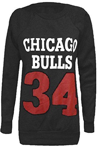 Home ware outlet Damen Sweatshirt Sweatshirt schwarz * Einheitsgröße Gr. S/M (34-36), Chicago Bulls Charcoal grey (Chicago Bulls Dress)