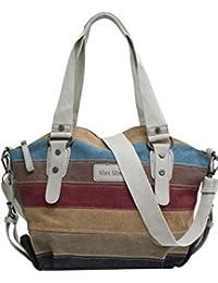 42f55425dddc6 AmbraModa Multi-Color-Striped Canvas Damen Handtasche Umhängetasche Canvas  Tasche Shopper Hobo Bag