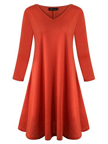 Anna Smith Tunika Kleider für Frauen, Feminine Chic Stilvolle V-Ausschnitt Designer Elegant Schöne Kleidung Nette Plissee T Shirts für Die Arbeit Fitted Blusen und Tops Orange Large (Designer-tunika Damen)