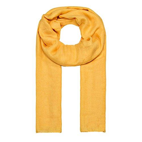 ManuMar Schal einfarbig | Hals-Tuch in Uni-Farben | einfarbig Gelb als perfektes Sommer-Accessoire | klassischer Damen-Schal - Das ideale Geschenk für Frauen