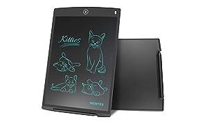 LCD Tablette d'écriture graphique dessin - NEWYES - 12 pouces Ewriter LCD Tablette d'écriture Bon Marché Mémo Pad magnétiques bloc-notes Notepad comprend 1Stylo 2 Aimants (noir)