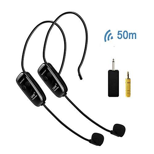 XIAOKOA UHF microfono senza fili,set di amplificatori vocali a doppio canale,trasmissione wireless stabile da 50m,per promozioni/insegnante/guida turistica/relatore/presentazione