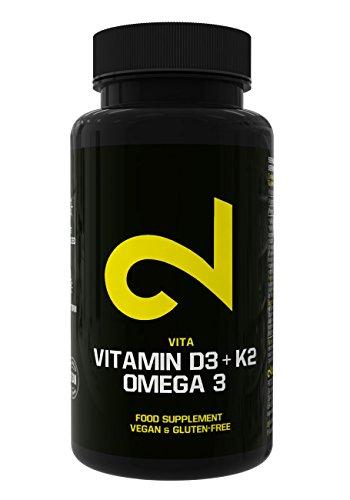 DUAL Vitamin D3 + K2 + Omega 3 | Complejo vitamínico completamente natural | Fortalece Huesos y Salud del Corazón | Calidad superior: certificado por laboratorio | Efecto de Depósito por 4 días | 80 cápsulas | Vegano y Sin Gluten