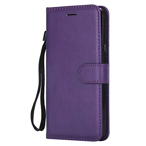 Tosim [LG X Power 2] Hülle Leder, Klapphülle mit Kartenfach Brieftasche Lederhülle Stossfest Handy Hülle Klappbar für LG X Power2 (LGM320N) - TOKTU57594 Violett