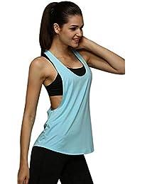 a898ebf73860 BaZhaHei Canotta Sportivo Donna Fitness Vest Eleganti Sexy Tank Moda  Casuale T-Shirt Tumblr Senza