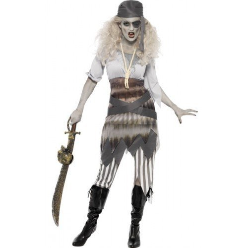 by Ladies Ghost Ship Zombie Pirate Sexy Halloween Fancy Dress Costume Outfit UK 8-18 (UK 16-18) (Ghost Kostüm Pirate)