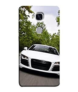PrintVisa Designer Back Case Cover for Huawei Honor 5X (white classy car forest view)