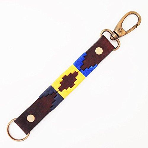 Realizzata a mano in pelle di vitello Argentine polo chiave dell' anello portachiavi chiavi Argentina Aztec Style