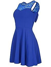 Laeticia Dreams Damen Kleid Mini mit Spitze und Schleife S M L
