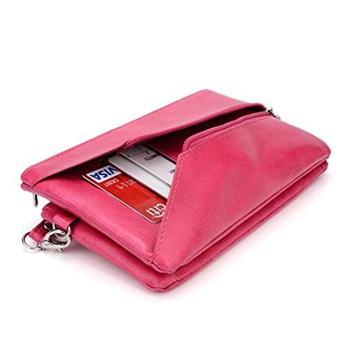 Kroo Pochette Portefeuille en Cuir de Femme avec Bracelet Cuir pour Asus Fonepad Note 6/ZenFone 6 Red and Grey Magenta and Blue