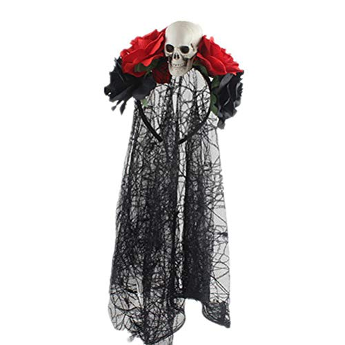 Lurrose Diadema de Halloween Diseño de Velo Rosa Calavera Diadema Gótica Accesorio para Pelo Decoración para Fiesta de Halloween