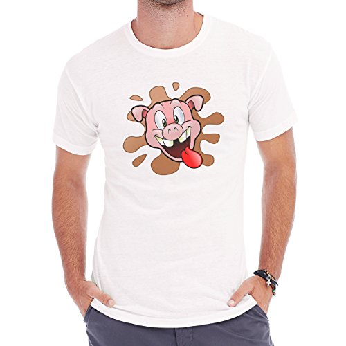 Pig Animal Farm Hog Tongue Red Herren T-Shirt Weiß
